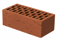 Кирпич облицовочный полуторный пустотелый красный риф М-150, Браер, 250x120x88 мм