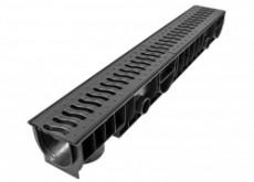 Лоток пластиковый 100 h129 с решеткой пластиковой (цвет черный)