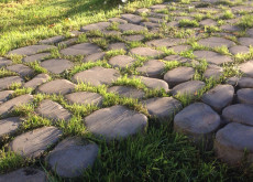Тротуарная плитка Грин Галет, Серый, h=80 мм