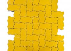 Тротуарная плитка Волна, Желтый h=80 мм