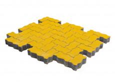 Тротуарная плитка Волна, Желтый, h=60 мм